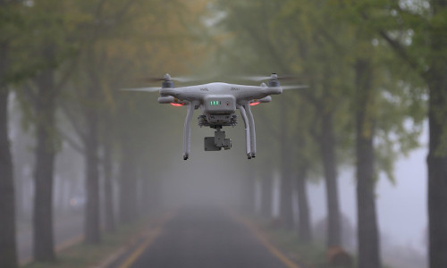An aerial drone flying among trees.