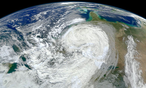 A view of Hurricane Sandy along the East Coast of the United States
