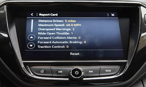 A photo of General Motors' safety monitoring system that includes data on the maximum speed attained and distance driven.