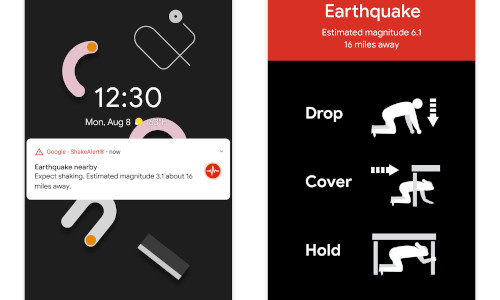 The earthquake alert system on Android, which for now is only in California