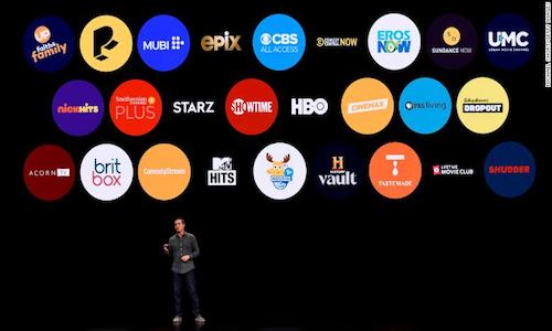 A screen of icons showing Apple TV channels