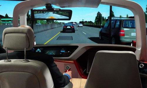 Driving simulators and virtual reality demos at an auto show