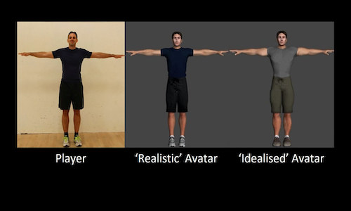 Three screens showing player, realistic avatar, and idealized avatar.
