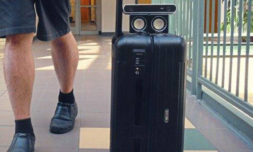 The Bbeep suitcase that's designed to help visually impaired individuals navigate airport terminals