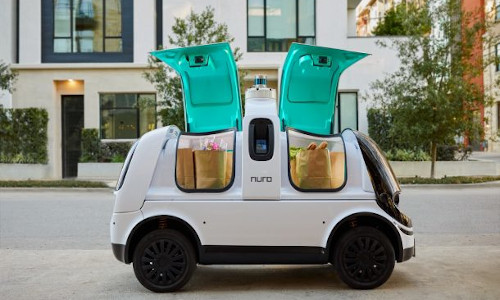A Nuro driverless delivery vehicle.