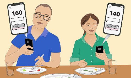 two people checking smartphone for calorie counts, illustration