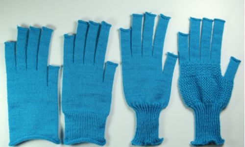 Gloves fabricated by a system for automating knitted garments