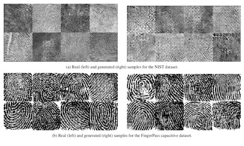 A grid comparing real fingerprints with their fake counterparts.