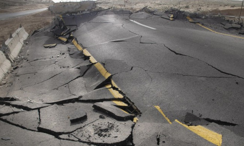 A road that ruptured from an earthquake