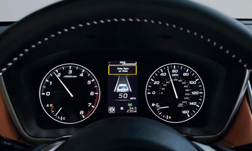 "Subaru's ""DriverFocus Distraction Mitigation System,"" using a dashboard camera to watch the driver's eyes and face"