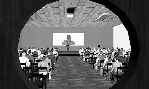 image of a virtual clone giving a speech