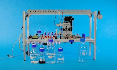 The system that was fed by bottles of chemicals to encode date in custom-designed DNA molecules.