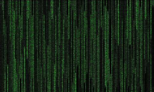 computer screen with streaming lines of code