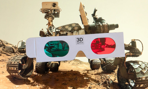 A robot wearing 3D glasses.