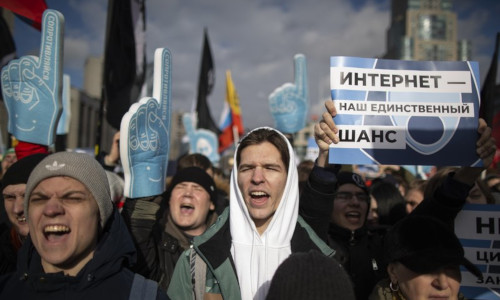 Demonstrators protest at a Free Internet rally in Moscow in March