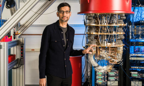 Sundar Pichai of Google with Sycamore, its quantum computer