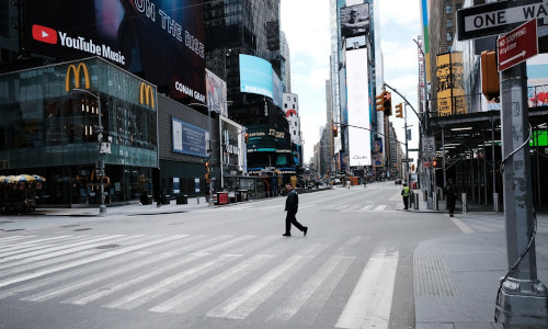 Times Square stood nearly empty on March 22. Intriguing new data suggest that stay-at-home measures may be working