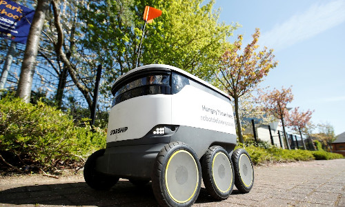 A delivery robot.