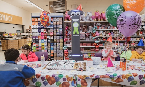 A party to celebrate Marty the robot's first birthday.