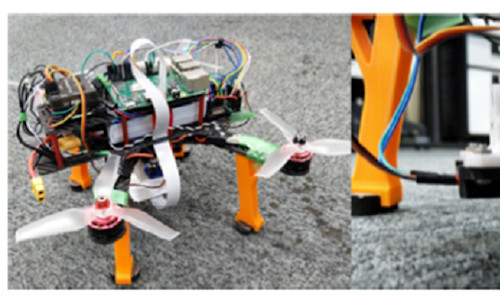 A standard radio-controlled drone, upgraded and equipped with a simple 2D camera for the detection of a symbolized landing pad.