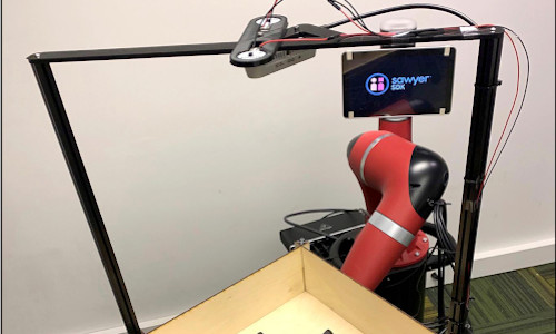 Tilt-Bot — a square tray attached to the arm of a Sawyer robot