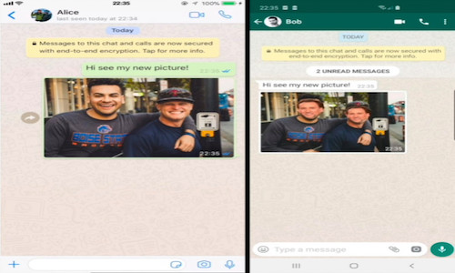 Phone screens illustrating the flaw Symantec uncovered in WhatsApp and Telegram.