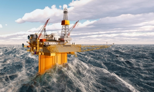 An offshore oil rig is rough ocean waters