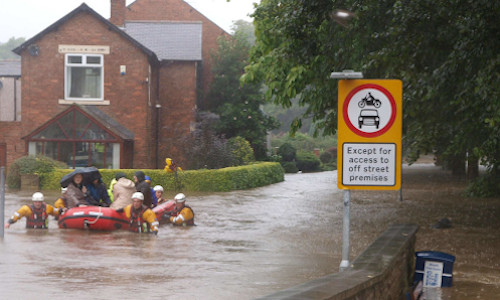 People being rescued during a flood