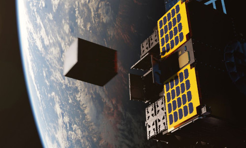 A rendering of how a Vigoride vehicle from Momentus can send small satellites into final orbit.