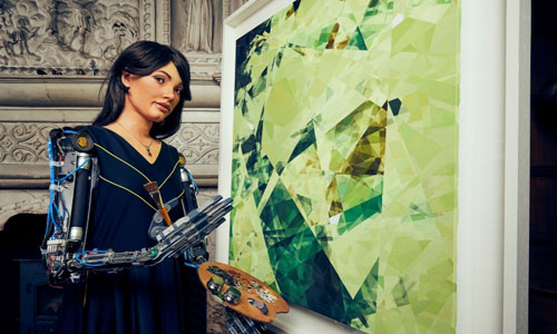 AI-Da Robot with a painting created by her response from an oak tree