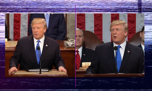 Videos of Trump side by side
