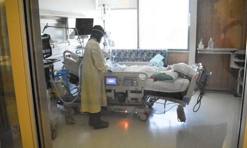 A doctor examines a hospitalized patient.