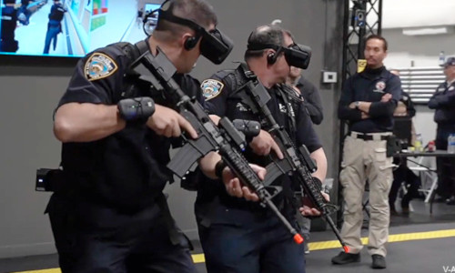 Police officers with VR goggles