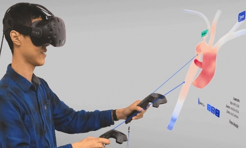 Research scientist Harvey Shi demonstrates VR interface that doctors could soon use to help make medical decisions.