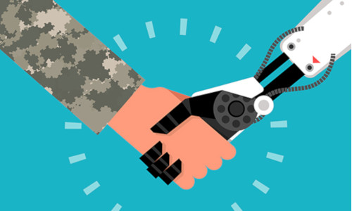 Image of a man shaking hands with a robot