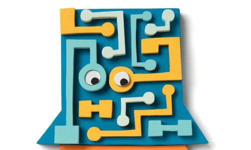 Blue representation of a software.