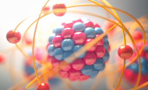 3D illustration of an atom