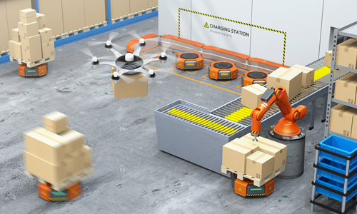 Warehouse equipped with robotic arm, drone and robot carriers