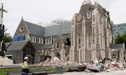 Christchurch Cathedral in New Zealand after a 2011 earthquake.