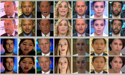 Still images from videos of people whose facial expressions have been digitally altered
