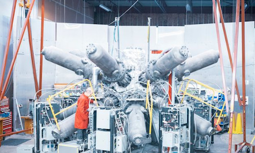 The Canadian startup General Fusion's prototype compression system includes a 'mini sphere' and 14 full-size pistons