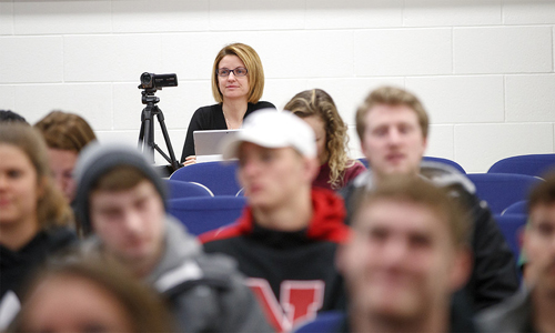 Marilyne Stains, associate professor of chemistry, watches a class at the University of Nebraska-Lincoln