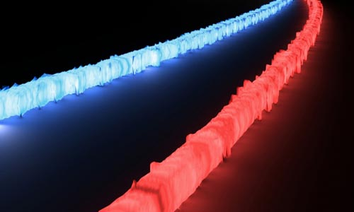 Blue and red tubes of light on black background