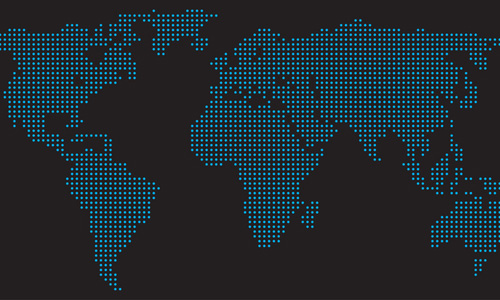 World map in blue dots on a black background