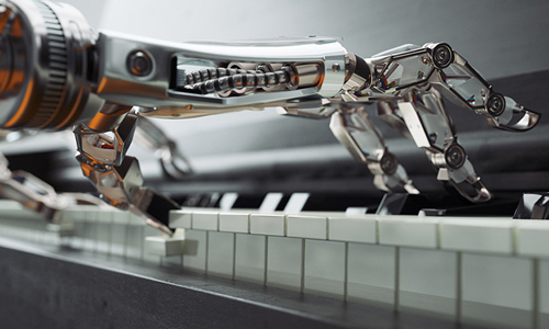 Robotic hands playing piano