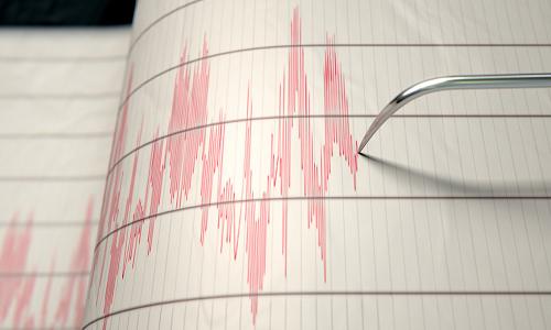 Seismograph reading during an earthquake