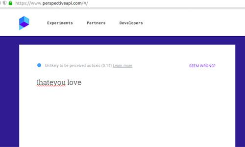 Screenshot of google's hate speech detector Perspective