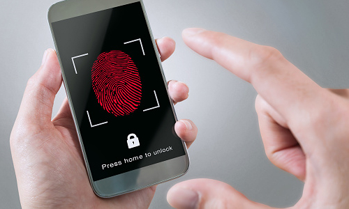 Smartphone with thumbprint scanner